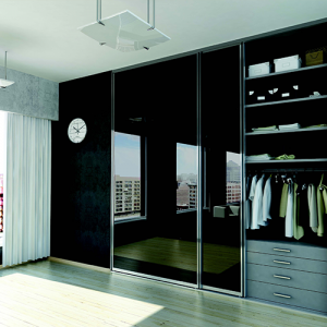 reach in wardrobe sliding doors large black