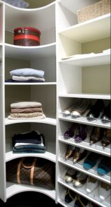 walk in wardrobe corner shelves