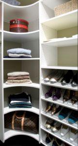 walk in wardrobe corner shelves