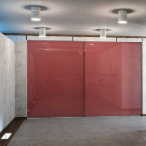 wardrobe sliding doors large office red
