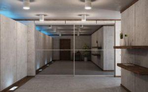 room divider glass mirror