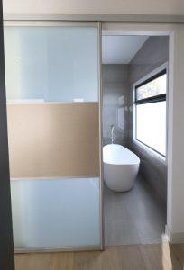 bathroom sliding door frosted