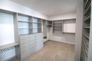 white walk in wardrobe master bedroom grey