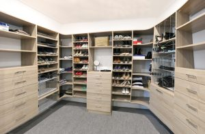 walk in wardrobe wood grain Queenscliff installation
